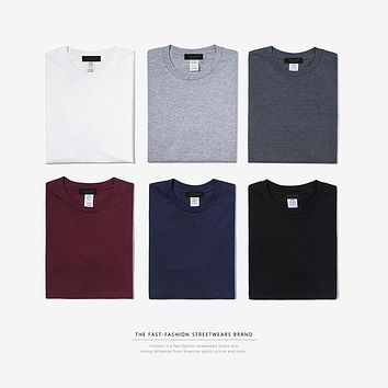 men tshirts Cotton O-Neck Men's Plain T shirt 25 Solid Colors Short Sleeve dress t shirt
