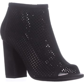 B35 Megan Peep To Booties, Black, 7.5 US