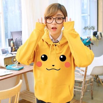 Autumn Winter Cotton Adult Woman Man Hoodies Jacket Coat Lovely Pocket Monster Hooded Sweater Pokemon Cosplay Pikachu Sweatshirt