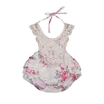 Summer 2017 Cute Newborn Baby Girls Lace Halter Romper Stitching Jumpsuit Outfits Backless Sunsuit