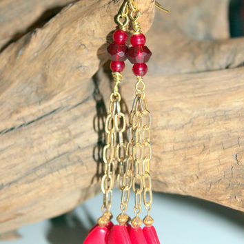 Retro 1960s Inspired Upcycled Re-Purposed Vintage Chain Dangle Earrings Red Boho