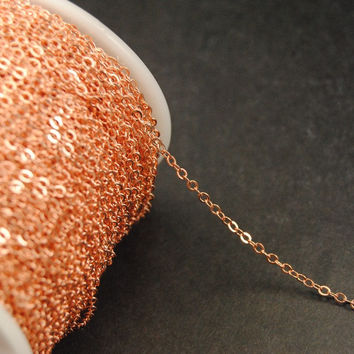 20M 2mm copper  Brass Flat Cable Chain DIY Necklace jewelry findings and component C67- Soldered
