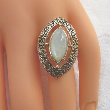 Sajen Moonstone Ring, Sterling Silver, Milky Moonstone Statement Ring, Size 8.5, Vintage Bali Style Jewelry