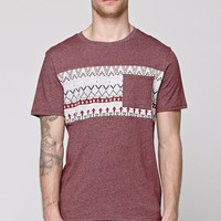 On The Byas Jasper Ethnic Panel T-Shirt - Mens Tee - Red