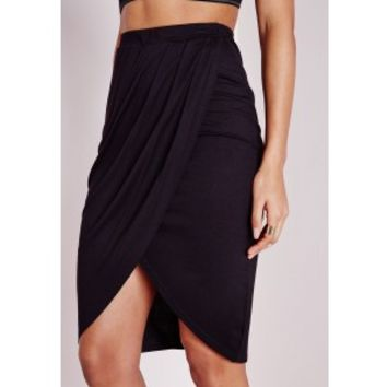 Wrap Front Jersey Midi Skirt Black - Skirts - Missguided