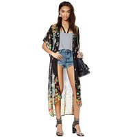Floral Short Sleeve Chiffon Long Cover-up