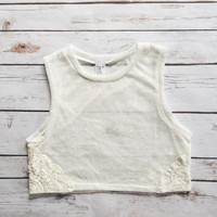 Lace Trim High Neck Tank (White)