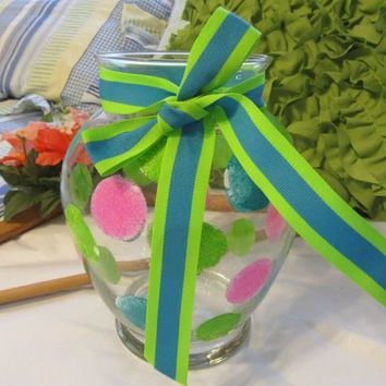 Hand Painted Happy Dots Clear Glass Vase - Hot Pink, Aqua, and Lime Green With Aqua and Lime Green Bow for Accent