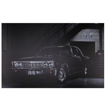 "LED Lighted Black Chevelle SS Classic Car Canvas Wall Art 15.75"" x 23.75"""
