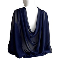 "Midnight Navy Blue Wide Long Shiny Scarf for Women Evening Wrap With Gift Box Formal Wedding Shawl Lightweight Cocktail Chiffon Stoles 77"" x 27"""