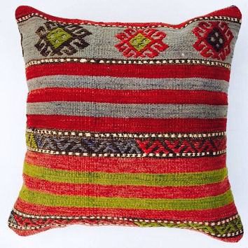 Red and green Turkish Kilim Pillow Home Decor pillow case Cushion cover Ethnic Euro Sham Shabby Chic Boho Home Decor 16x16 Living room Decor