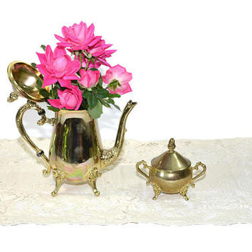Vintage Silver Teapot Decorative Silver Teapot Silver Sugar Dish Teapot Vase Wedding Decor Photo Prop