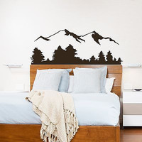 Wall Decal Mountain Scene Nature Bedroom Living Decor Vinyl Stickers Mural OS249