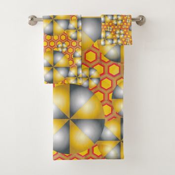 Circles Pattern on a Honeycomb Background Bath Towel Set