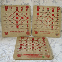 Six Bingo Cards - Boards - Vintage Set of Pla-Mor Shutter Style - Colorado Moose Lodge - Play, Frame, Re-purpose, Crafts