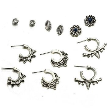 6 Pairs/set Fashion simple Bohemia style zircon leaf flower earrings 171120
