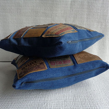 2 x Pillow cover recycle denim with jeans labels
