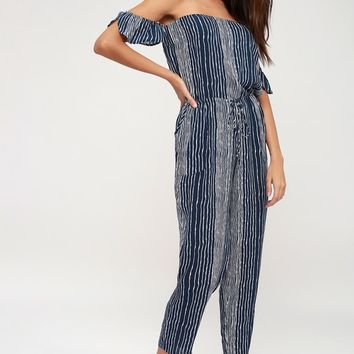 Dream On Navy Blue and White Striped Off-the-Shoulder Jumpsuit