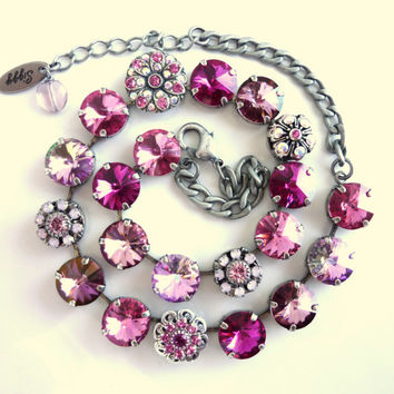 Swarovski crystal 12mm choker, pretty in pink, one of a kind siggy design, GREAT PRICE