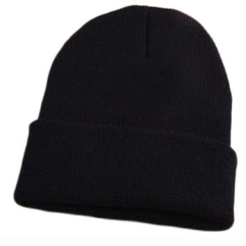 Autumn And Winter Warm Women & Men Wool Unisex Fluorescent Beanie Couple Knitted Cap Pointed Black Cuffed Skully Hat