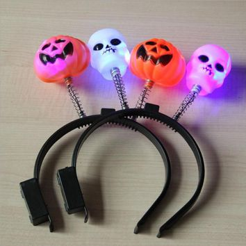 20pcs/lot  Novelty Light up Halloween skull headband flash headband toy LED Pumkins Headband Halloween Costume Head Decor