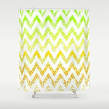 ombre golden green chevron Shower Curtain by Bunny Noir