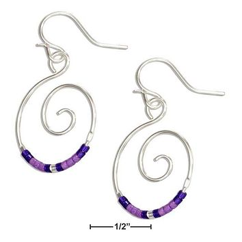 Sterling Silver Earrings:  Round Spiral Dangle Earrings With Purple Glass Seed Beads