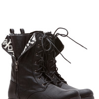 Black Faux Leather Unzipped in Tribal Lace Up Boots