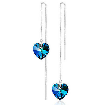 Crystal Earring Sea 925 Silver Earrings [6048763457]