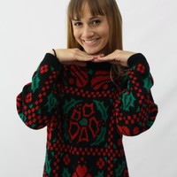 Vintage Christmas Sweater- Black with Holly