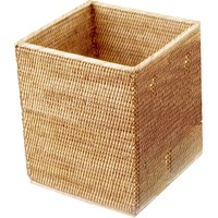 DWBA Malacca Square Wastebasket Trash Can for Bathroom, Kitchen, Office - Rattan