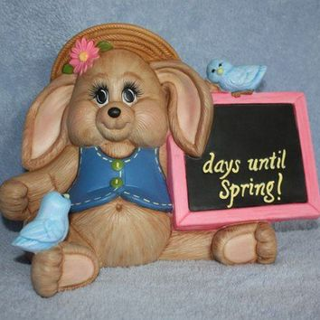 Handpainted Ceramic Bunny Holding a Spring by FlutterbyConnections