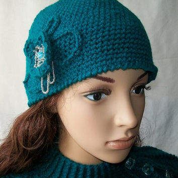 Adult Crochet Hat Green Blue with a beautiful flower by labostyle