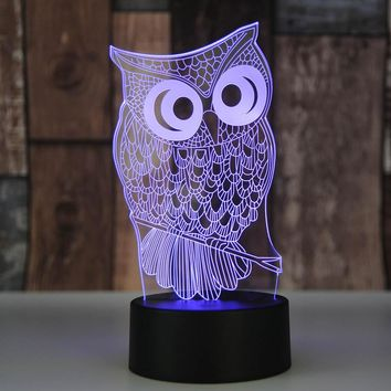 3D Acrylic Owl Nightlight Visual Led Night Lights for Home Bedside Night Light for Child Gift USB Table Lamp Nightlight