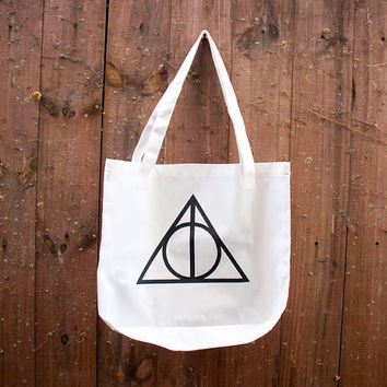 Wand. Stone. Cloak TOTE BAG -  an American Apparel Poly-Cotton Tote Bag with the Deathly Hallows design