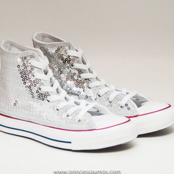 Sequin Seaweed Silver Converse Canvas Hi Top Sneaker Tennis Shoes