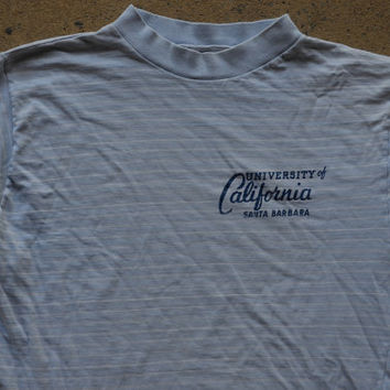 Vintage 60's University OF California Santa Barbara Striped Bohemian Surfer T Shirt