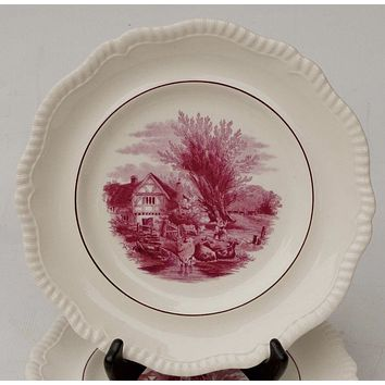 "10.5"" Copeland Spode Duncan Rural Scenes Pink Red Transferware Plate Cows & Cottage"