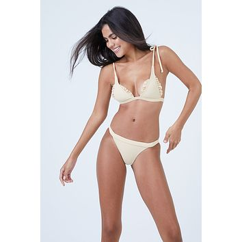 Traveler Shoulder Tie Triangle Bikini Top - Blonde Rib