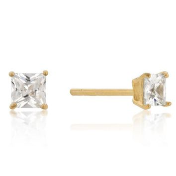 4mm Yellow Gold Plated Sterling Silver Princess Stud Earrings