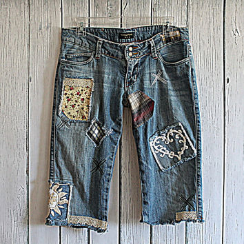 Upcycled Women's Clothing / Boho Denim Long Shorts / Altered Couture Tattered Jean Cutoffs