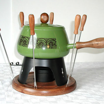 Avocado Green Fondue Set  - Vintage Gailstyn Mushroom Fondue Pot With Box Forks & Recipe Book