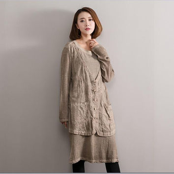 Embroidered cotton linen fake two piece dress New spring autumn loose casual dresses for female 66013