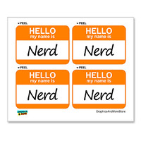 Nerd Hello My Name Is - Sheet of 4 Stickers