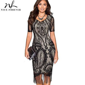 Nice-forever Sexy Lace Tassel Hem Vintage Summer Dress Stylish Short Sleeve Casual Sheath Bodycon Pencil Office Woman Dress B337