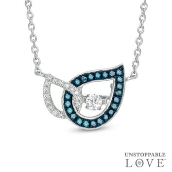 Unstoppable Love™ 1/5 CT. T.W. Enhanced Blue and White Diamond Teardrops Necklace in 10K White Gold