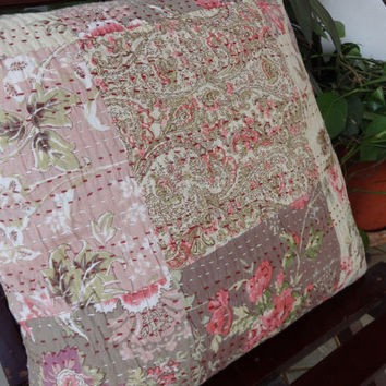 5 Handmade Kantha Floral Cushion Cover Set,Printed Patchwork Style Cushion,40 x 40 Cms,Outdoor Cushion Cover,Antique Kantha Work India