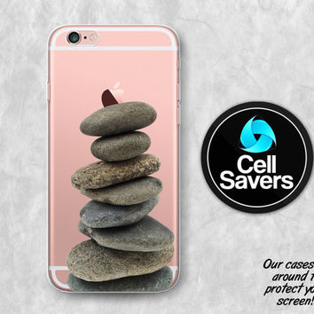 Rock Stack Clear iPhone 6s Case iPhone 6 Case iPhone 6 Plus Case iPhone 6s Plus iPhone 5c Case iPhone 5 Clear Case Rock Pile Nature Hippie