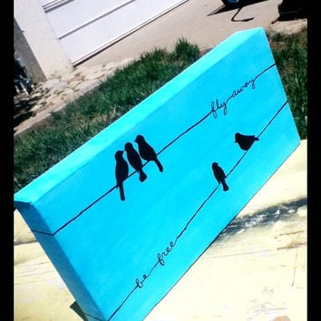 Birds on a wire canvas painting. 5 x 7in.