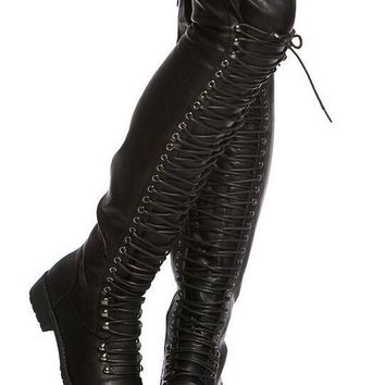 Faux Leather Over The Knee Boots Round Toe Lace Up Boots Med Heel Riding Combat Boots